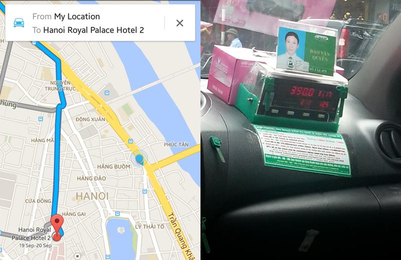 Rute Google dan Posisi Taksi. Foto Sopir, Nomor Pengemudi dan Nilai Argo.