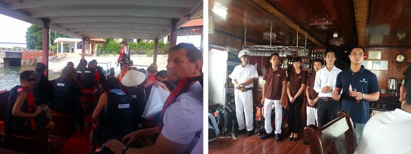 (Kiri) Kapal kecil dan seluruh turis di tour kali ini. (Kanan) Briefing dari tour guide dan manager kapal.