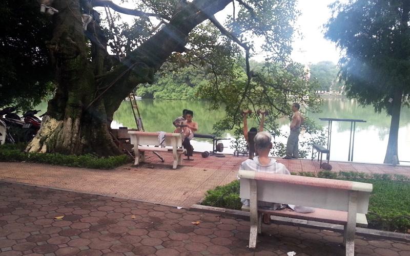 Body Building at Hoan Kiem Lake, Ha Noi