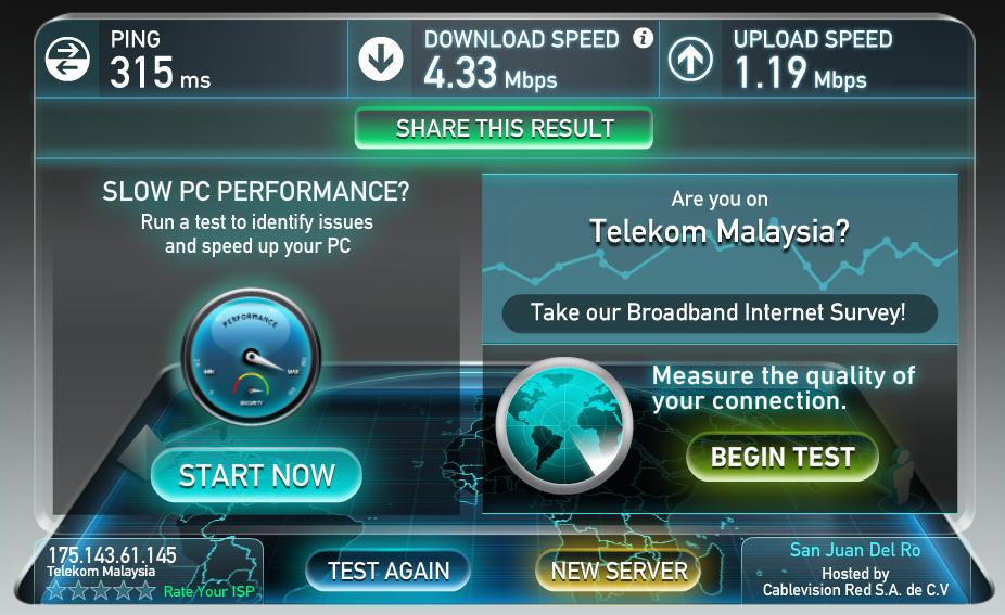 Hasil Speed Test kecepatan koneksi Internet di Serenity Hostels.