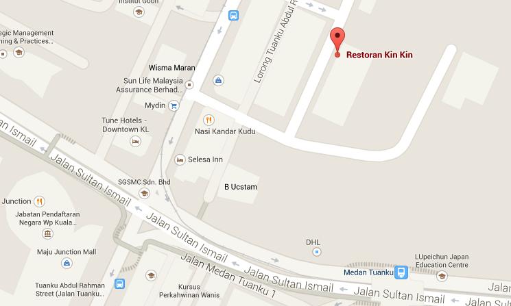 Peta Lokasi Restoran Kin Kin. Deket ke Tune Hotel.
